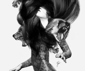 art, bear, and black and white image