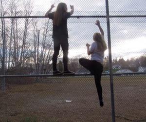 climbing, fence, and grunge image