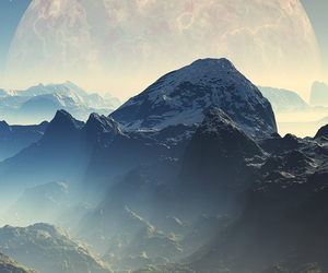 mountains, moon, and cool image