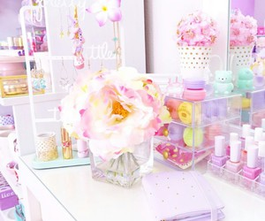 pastel colors, pink flowers, and nail polishes image