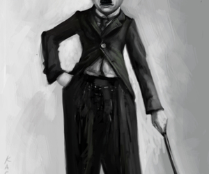 black-and-white, charlie chaplin, and fan art image