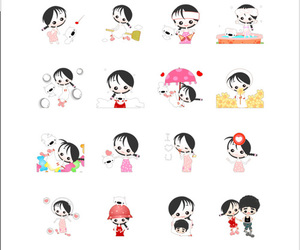 chat, sticker, and girl image
