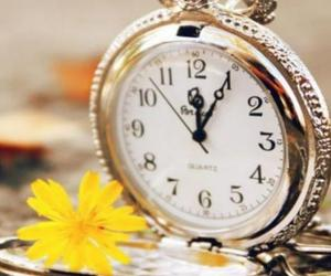 clock, flower, and image image