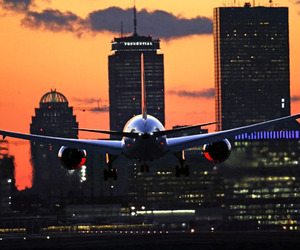 airplane, buildings, and landing image