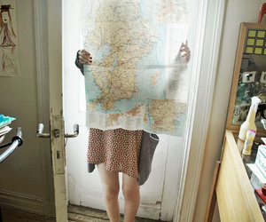 girl, vintage, and map image