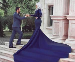 dress, couple, and hijab image