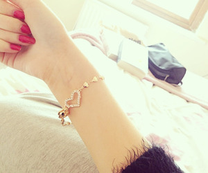 nails, bracelet, and gold image