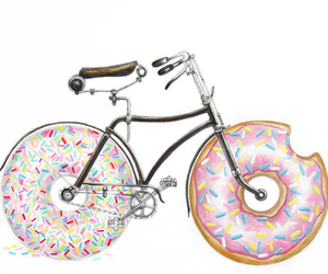 donuts, bike, and drawing image