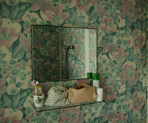 bathroom, flowers, and mirror image