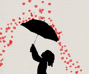 umbrella, heart, and rain image