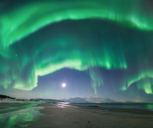 beach, aurora, and landscape image