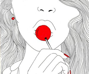 drawing, illustration, and lips image