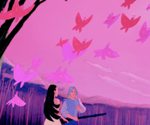 butterflies, couple, and pink image