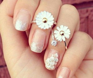flowers, nails, and rings image