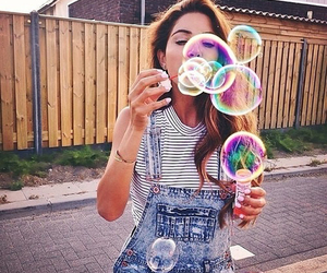girl, bubbles, and summer image
