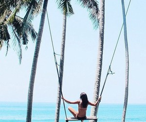 summer, girl, and palm trees image