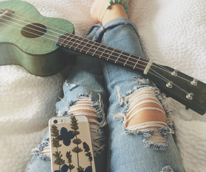 girl, fashion, and guitar image