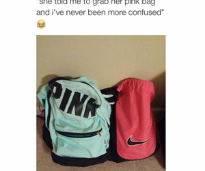 pink, funny, and bag image