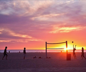 beach, sunset, and volley ball image