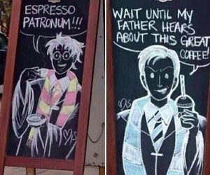 harry potter, draco malfoy, and coffee shops image