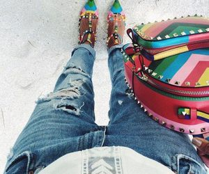 heels, bag, and rainbow image