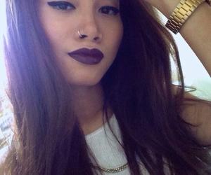 girl, makeup, and gold image