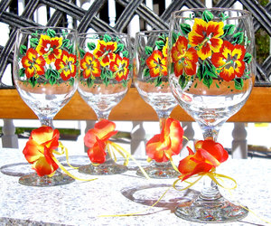 mothers day gifts, painted wine glasses, and hand painted wine glasses image