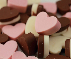 chocolate, heart, and pink image