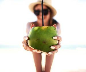 girl, drink, and coconut image