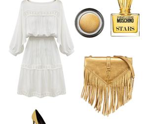 bag, dress, and gold image