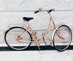 bike, gold, and pink image
