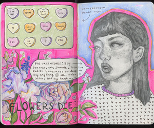 art, journal, and drawing image