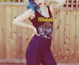 girl, ramones, and blue hair image