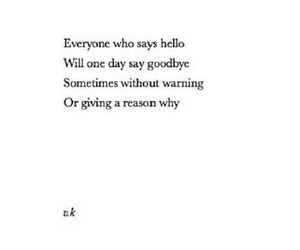 goodbye, hello, and quote image