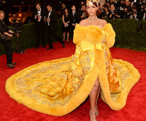 rihanna, yellow, and red carpet image