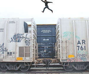 boy, jump, and train image