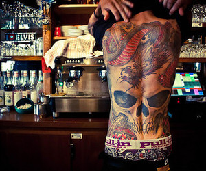 tattoo, boy, and skull image