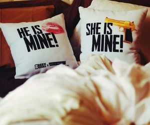 he and she, just married, and pillows image