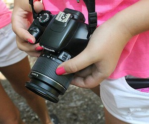 camera, pink, and canon image