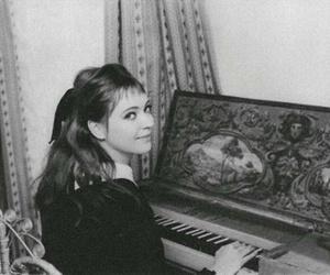 anna karina, piano, and black and white image