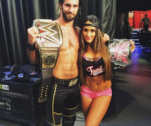 wwe, nikki bella, and seth rollins image
