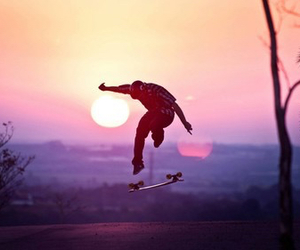 skate, sunset, and boy image