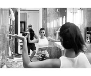 selena gomez and black and white image