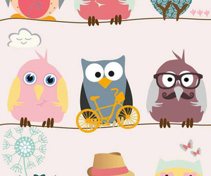 owl, wallpaper, and illustration image