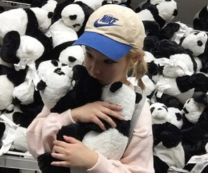 panda, girl, and nike image