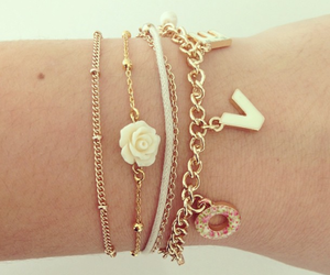 bracelet, love, and gold image