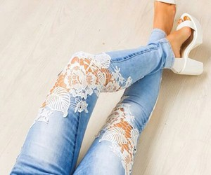 jeans, shoes, and lace image