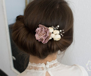 wedding headpiece, floral hair comb, and wedding hair comb image