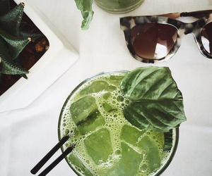 green, drink, and sunglasses image