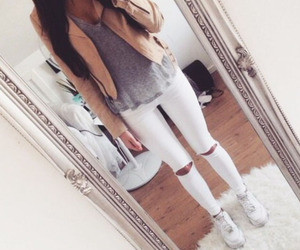 fashion, girl, and white jeans image